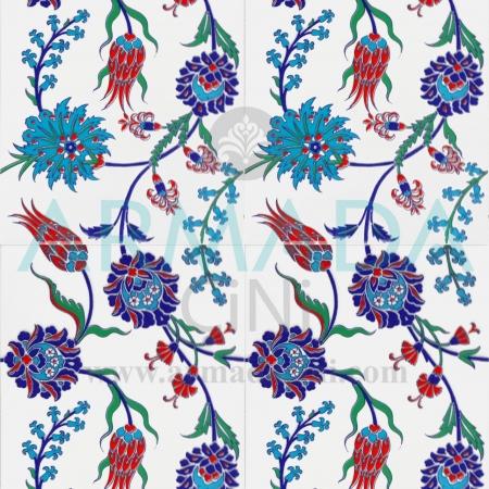 25x40 SP-405 Patterned Iznik Tile Tile Model (Tulip-Clove Patterned) Turkish Bath Bathroom Kitchen Cafe Restaurant Mosque Tile Tiles Kütahya Ceramic Porcelain