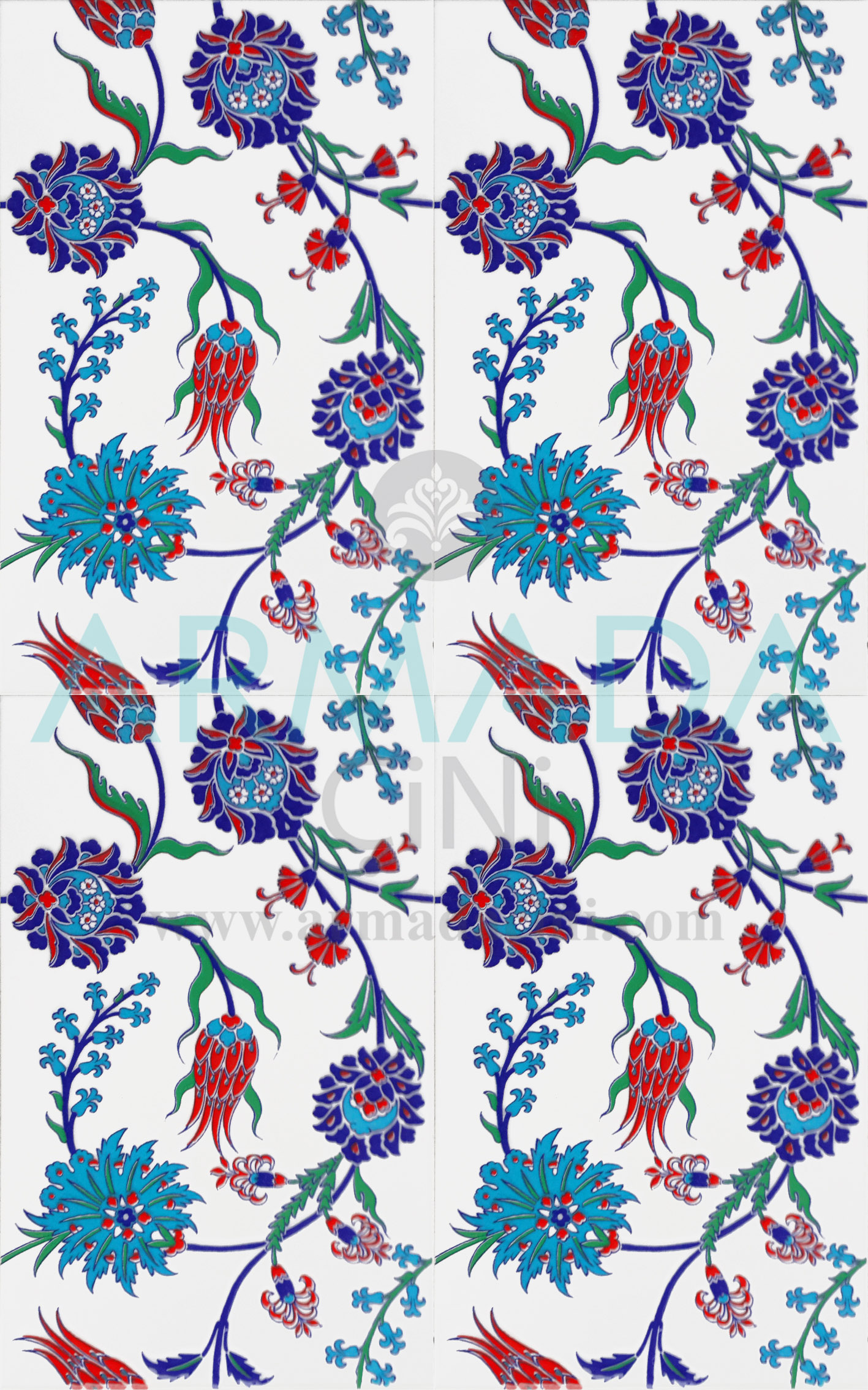 25x40 SP-405 Patterned Iznik Tile Tile Model (Tulip-Clove Pattern)