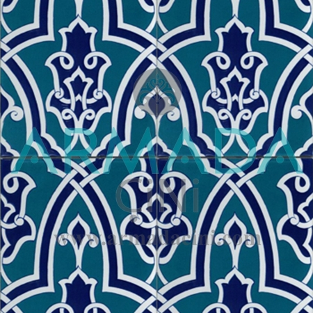 25x40 SP-406 Patterned Iznik Tile Tile Model (with Geometric Pattern) Turkish Bath Bathroom Kitchen Cafe Restaurant Mosque Tile China Kütahya Ceramic Porcelain