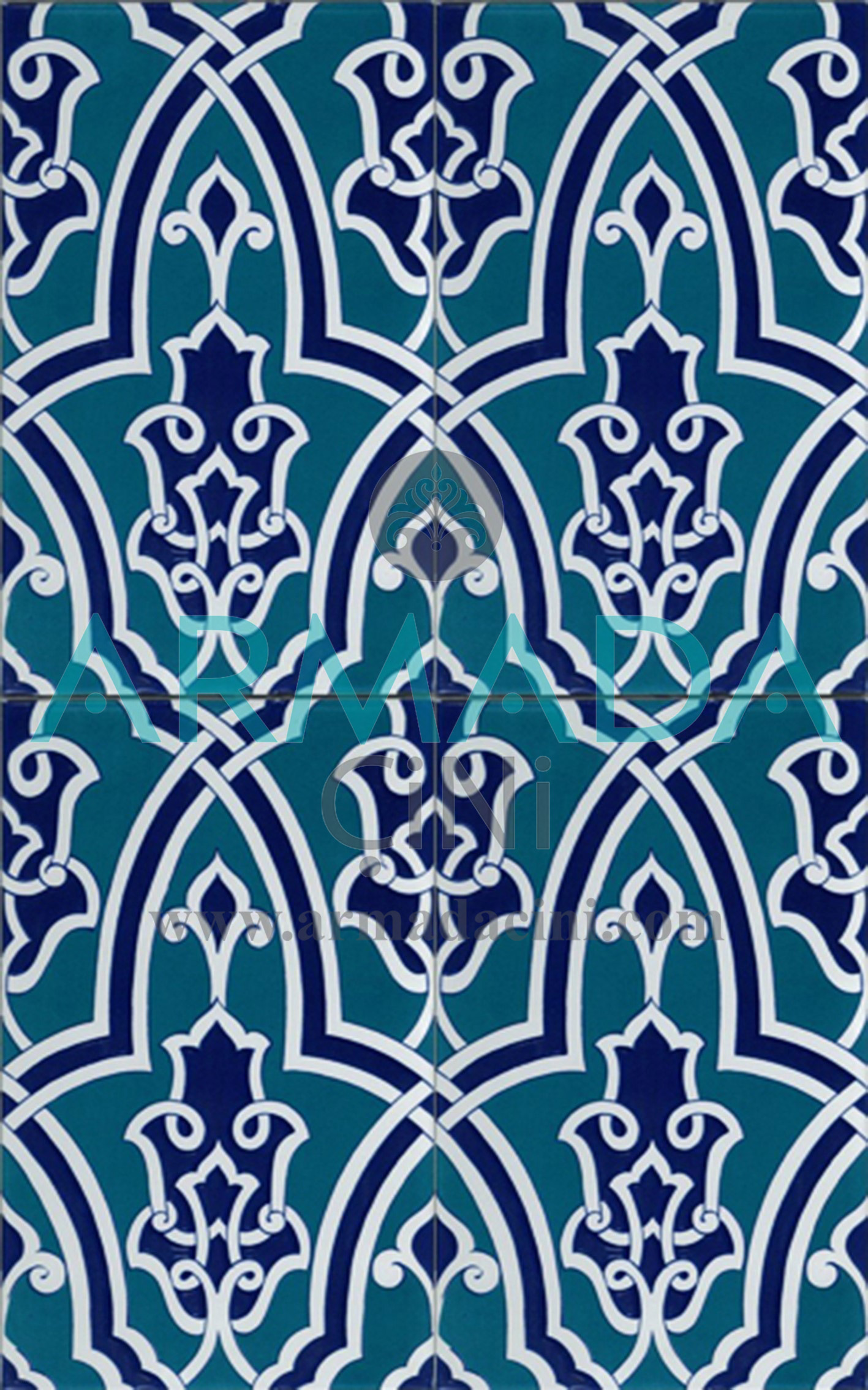 25x40 SP-406 Patterned Iznik Tile Tile Model (with Geometric Pattern)