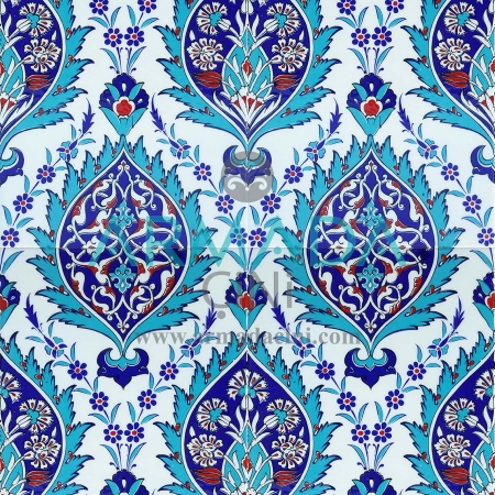 25x40 SP-417-M Patterned Iznik Tile Tile Model (Blue-Beaded) Turquoise Cobalt Colored Flower Patterned Bottomed Kütahya Tile Tile Pattern Patterns Ceramics