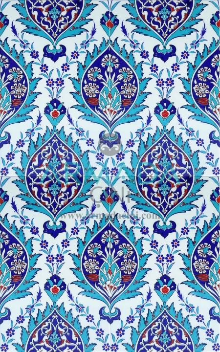 25x40 SP-417-M Desenli İznik Çini Karo Modeli (Mavi Göbekli) Turkuaz Kobalt Renkli Çiçek Desenli Göbekli Kütahya Çinisi Çini Deseni Desenleri Seramikleri