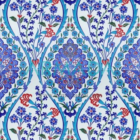 25x40 SP-418 Patterned Iznik Tile Tile Model (Carnation) Turquoise Cobalt Colored Flower Patterned Bottomed Kütahya Tile Tile Pattern Patterns Ceramics