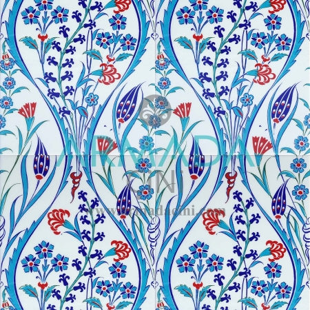 25x40 SP-419 Patterned Iznik Tile Tile Model (Tulip). How to make the tile. How it is produced. Ceramic