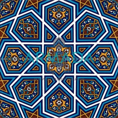 20x20 SP-48 Decorated Iznik Tile Tile Model (Great Turkmen Star) Exterior Wall China Ovens Heat Resistant Fountain Şadırvan Mescit Çinileri Kütahya Seramiki