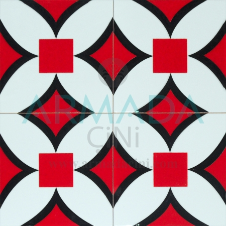 20x20 SP-68 Patterned Iznik Tile Tile Model (Red Flower) New - Old floor tile floor tile floor ceramic patterns patterns matt cement based thick tile