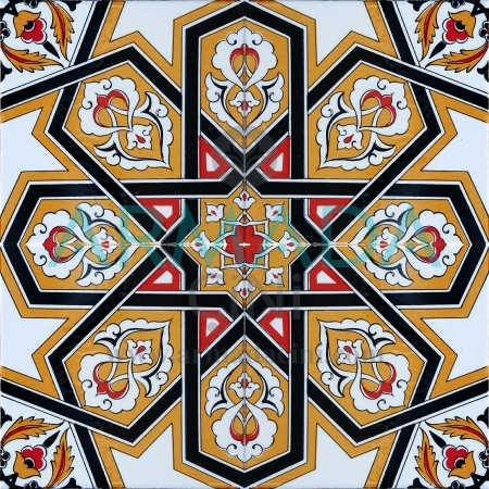 20x20 SP-72 Decorated Iznik Tile Tile Model (Yellow Star) Turkmen Star Patterned Chinese Tile Karar Ceramics Selçuklu Shah palace room Ottoman Sultan