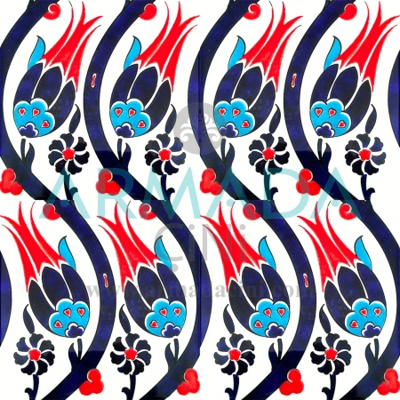 20x20 SP-77 Patterned Iznik Tile Tile Pattern (Tulip) Large Pattern Tulip Pattern Motif Tulip Pattern Iznik Tile Tile Ceramics Laying Patterns Kolon Hamam Çinisi Panel