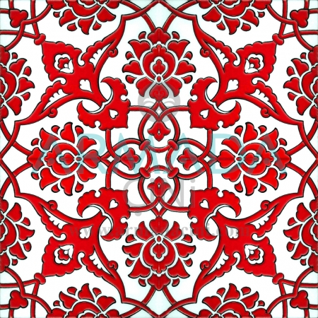 20x20 SP-83-A Patterned Iznik Tile Tile Pattern (Rumi Patterned) Rumi Pattern Made with Old Ottoman Seljuk Rumi Patterns Kütahya Tile Tiles İznik