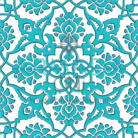 20x20 SP-83-B Patterned Iznik Tile Tile Model (Rumi Patterned) Rumi Pattern Made with Old Ottoman Seljuk Rumi Patterns Kütahya Tile Tiles İznik
