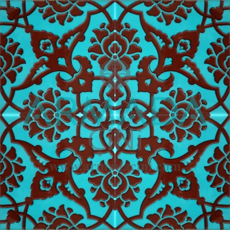 20x20 SP-83-C Patterned Iznik Tile Tile Model (Rumi Patterned) Rumi Pattern Made with Old Ottoman Seljuk Rumi Patterns Kütahya Tile Tiles Iznik