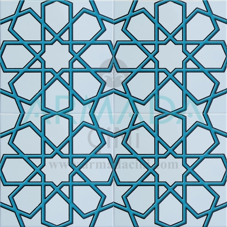 20x20 SP-89-B Patterned Iznik Tile Tile Model (Turkmen Star) White Turquoise Blue Turquoise Colored Embossed Mosque Annihilation Minbar Lectern Chinese Geometric