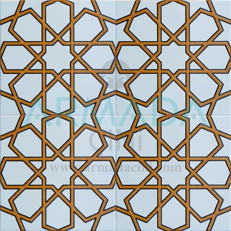 20x20 SP-89-B Patterned Iznik Tile Tile Models (Turkmen Star) White Gold Metallic Yellow Color Embossed Mosque Mihrap Minbar Tribal Chinese Geometric Tile