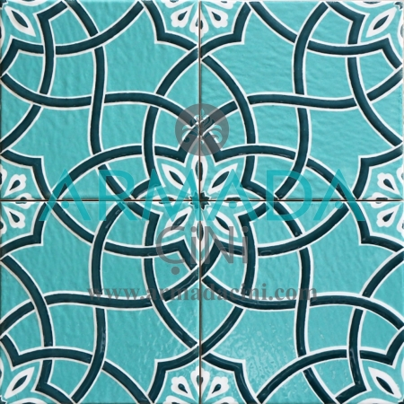20x20 SP-97 Patterned Iznik Tile Tile Model (Flower Pattern) Turkish Bath Bathroom Kitchen Cafe Restaurant Mosque Tile Tiles Kütahya Ceramic Porcelain Flowered