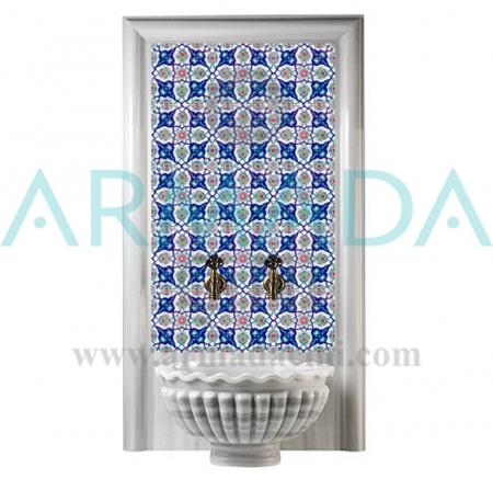 AC 27 Geometrik Rumi Desenli Çini Türk Hamamı Pano