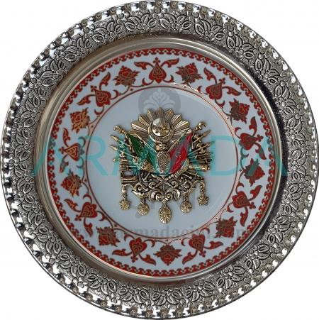 Osmanlı Devlet Armalı Altın Yaldızlı Porselen Tabak Gümüş Çerçeveli Kadife Kutulu Promosyon Hediyelik Çini Tabak Modelleri Örnekleri El Yapımı El Dekoru El İşlemesi El Boyaması Kütahya İznik