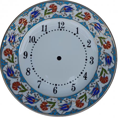 Altın Yaldızlı Porselen Saat modelleri desenleri duvara asmak için masa üstü hediyelik masa saati çini seramik saat el yapımı el boyaması el işlemesi el işi