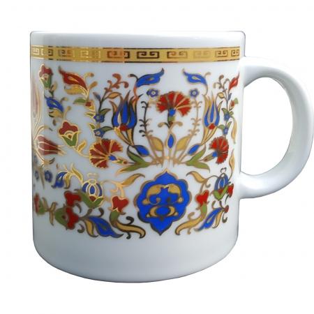 Altın Yaldızlı Çini Desenli Porselen Kupa Mug Kupa Bardak Hediyelik Çini Kupa Bardak Sermaik Kupa Lale Karanfil Motifli Desenli Büyük Nescafe Bardağı