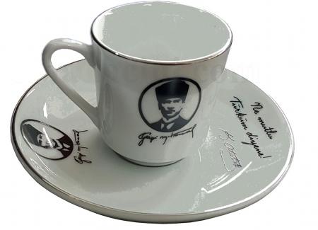 43800672 Armada cini Ar 672 Atatürk Altın Yaldızlı 2 lı Porselen Fincan Takımı