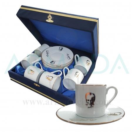 Atatürk'lü Fincan Takımı Modelleri Desenleri Hediyelik Atatürk Ürünleri Kahve Fincanı Takımı Atatürk Silüeti İmzası İmzalı Hediyelik Ürünler En Güzel En Özel
