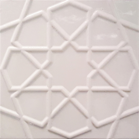 20x20 Cm Rölyefli Beyaz Selçuklu Yıldız Deseni Çini Karo