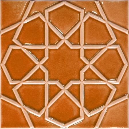 20x20 Cm Rölyefli Karamel Selçuk Yıldızı Deseni Çini Karo