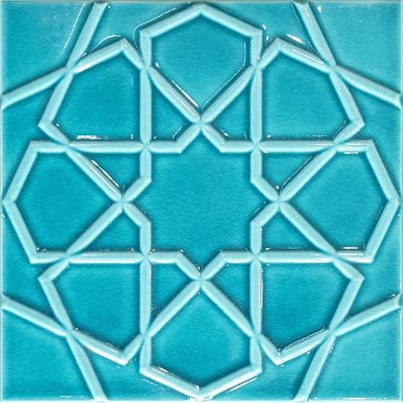 20x20 Cm Rölyefli Turkuaz Selçuk Yıldızı Deseni Çini Karo