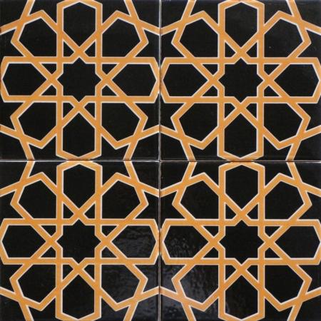 20x20 Cm SP 89-v Sarı Siyah Türkmen Yıldızı Çini Karo