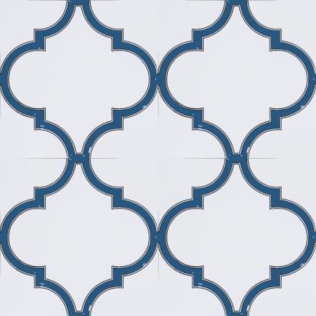 20x20 cm SP 103 Arabesk Mavi Beyaz Desenli Kütahya çini