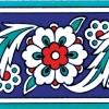 10x20 Cm KS 8 İznik Çiçek Desenli Seramik Çini Bordür