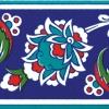 10x20 Cm KS 12 İznik Çiçek Desenli Seramik Çini Bordür