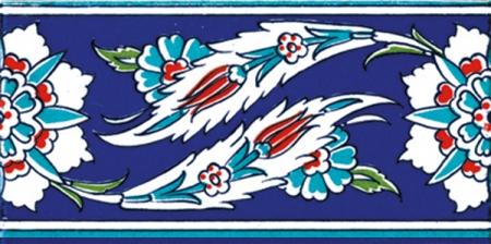 10x20 Cm KS 18 Osmanlı Yaprak Desenli Çini Bordür