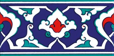 10x20 Cm KS 41 Kütahya İznik Rumi Desenli Seramik Çini Bordür
