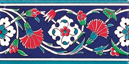 10x20 Cm KS 43 Karanfil Desenli Seramik Çini Bordür
