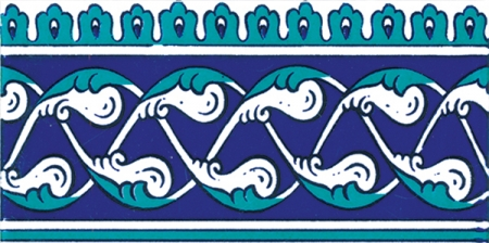 10x20 Cm KS 44 Klasik Rumi Desenli Seramik Çini Bordür