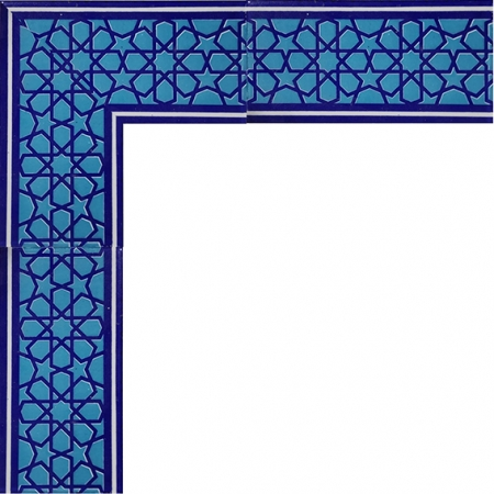 10x20 cm KS-72 Mavi Türkmen Yıldızı Desenli Çini Bordür