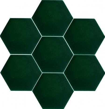15x17 cm AL 62 Koyu Yeşil Düz Altıgen Çini Karo Seramik