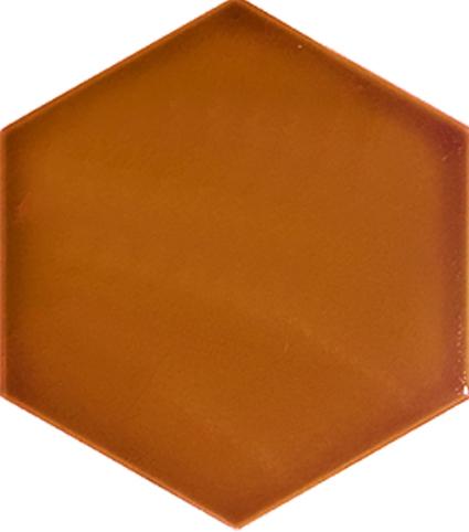15x17 cm AL 64 Karamel Düz Altıgen Çini Karo Seramik
