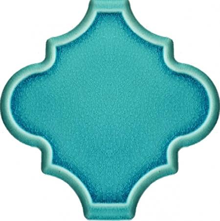 12x12 Ottoman Rölyefli Arabesk Turkuaz Çini Karo Seramik