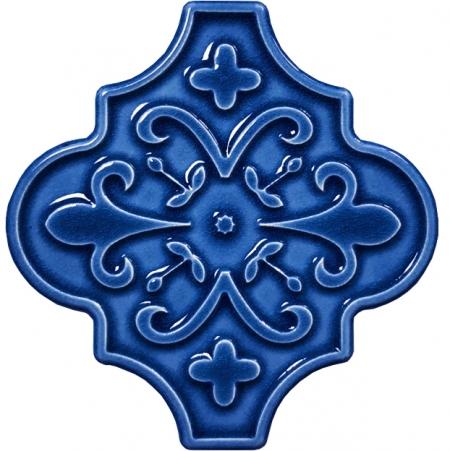 12x12 Ottoman Çiçekli Arabesk Kobalt Çini Karo Seramik