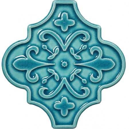 12x12 Ottoman Çiçekli Arabesk Turkuaz Çini Karo Seramik