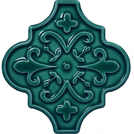 12x12 Ottoman Çiçekli Arabesk Yeşil Çini Karo Seramik