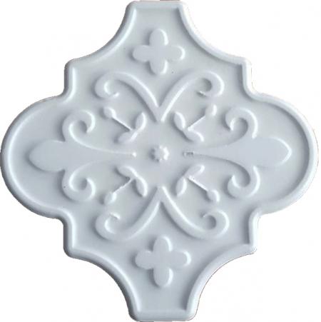 12x12 Ottoman Çiçekli Arabesk Beyaz Çini Karo Seramik